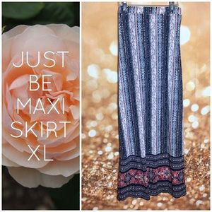 Just Be Maxi Floral Stripe Maxi Skirt XL